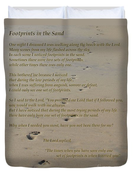 Footprints In The Sand Poem Duvet Cover