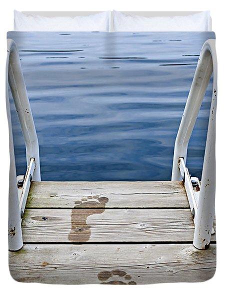 Footprints On Dock At Summer Lake Duvet Cover by Elena Elisseeva