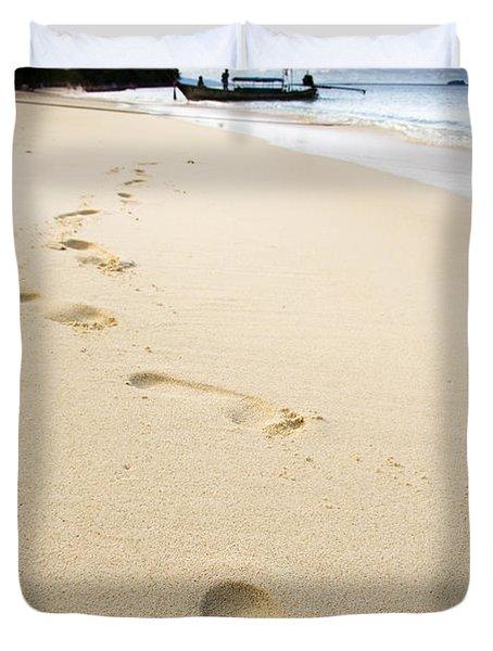 Footprints On Tropical Beach Duvet Cover