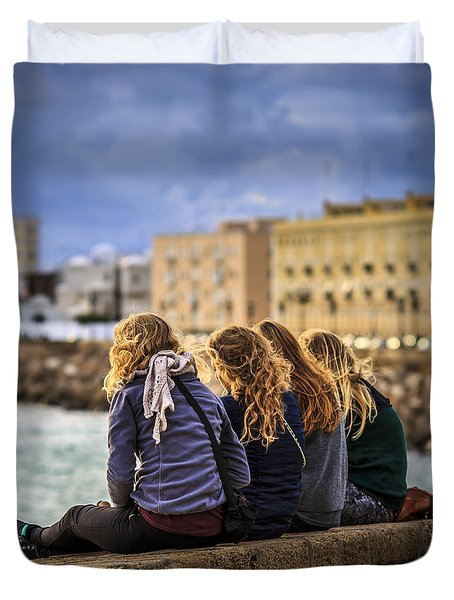 Foreign Students Cadiz Spain Duvet Cover by Pablo Avanzini