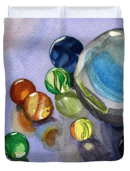 Duvet Cover featuring the painting Found My Marbles by Lynne Reichhart