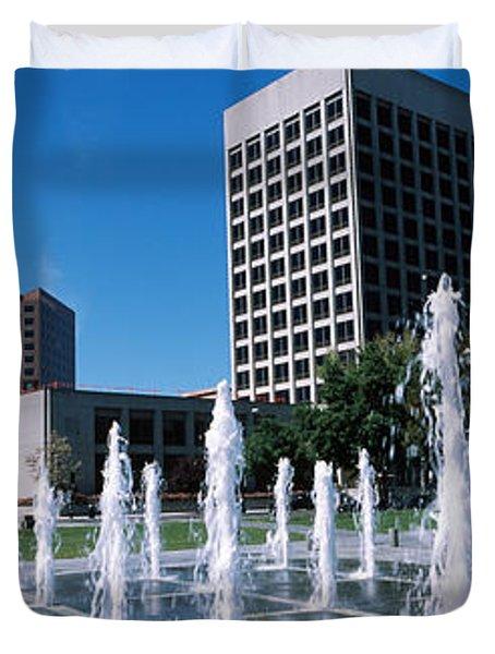 Fountain In A Park, Plaza De Cesar Duvet Cover