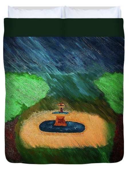 Fountain In The Midst Duvet Cover by Bamhs Blair
