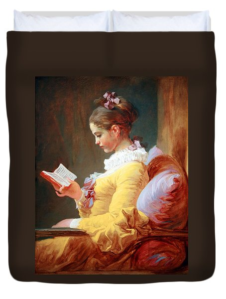 Duvet Cover featuring the photograph Fragonard's Young Girl Reading by Cora Wandel