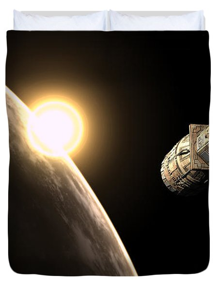 Frenchbulgarian Orbital Weapons Duvet Cover by Rhys Taylor