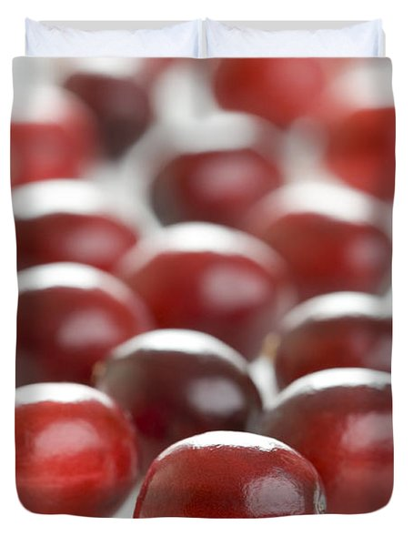 Duvet Cover featuring the photograph Fresh Cranberries Isolated by Lee Avison