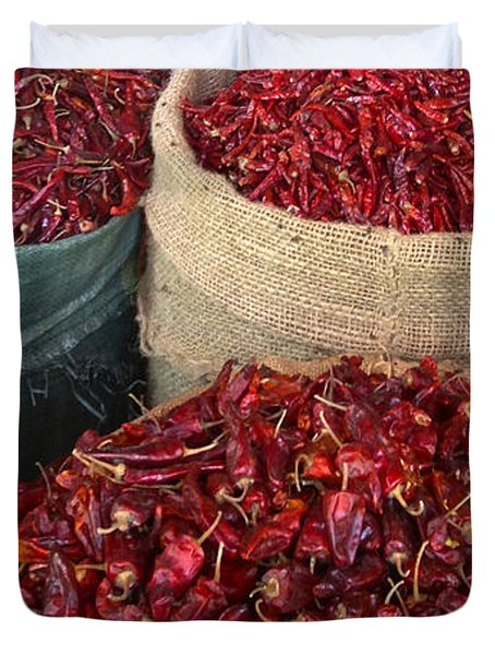 Duvet Cover featuring the photograph Fresh Dried Chilli On Display For Sale Zay Cho Street Market 27th Street Mandalay Burma by Ralph A  Ledergerber-Photography