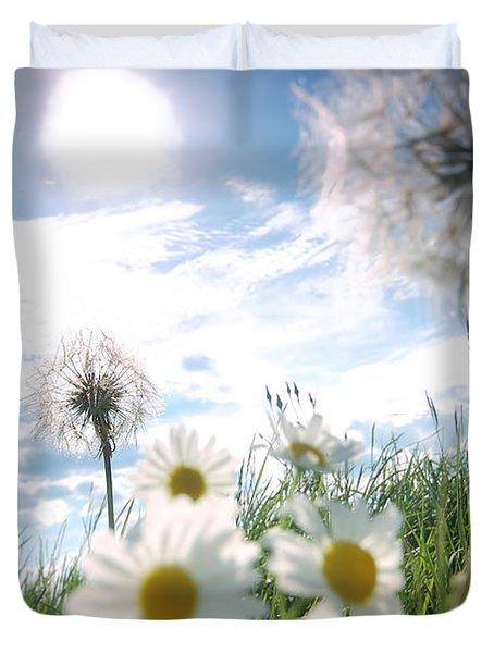 Fresh Meadow Background Duvet Cover by Michal Bednarek