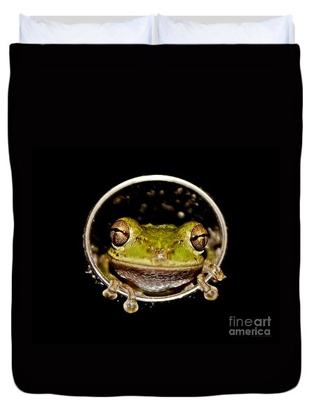 Duvet Cover featuring the photograph Frog by Olga Hamilton