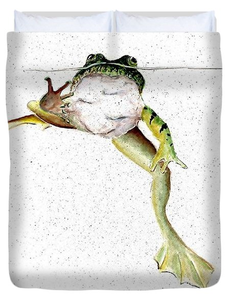 Frog On Waterline Duvet Cover