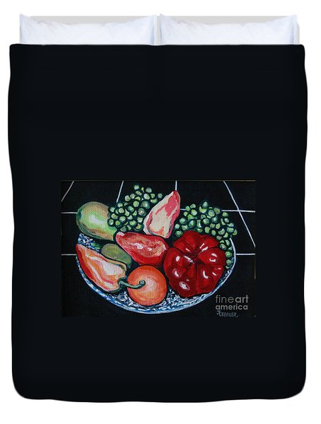 Duvet Cover featuring the painting Fruit And Peppers by Joyce Gebauer