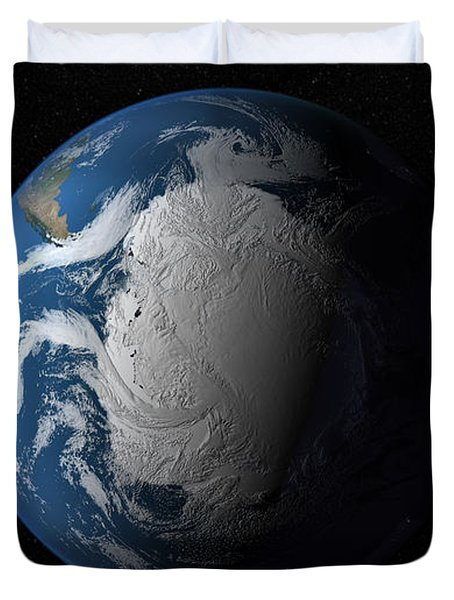 Ful Earth Showing Simulated Clouds Duvet Cover by Stocktrek Images