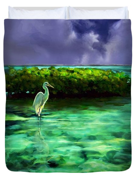 Full Moon Fishing Duvet Cover