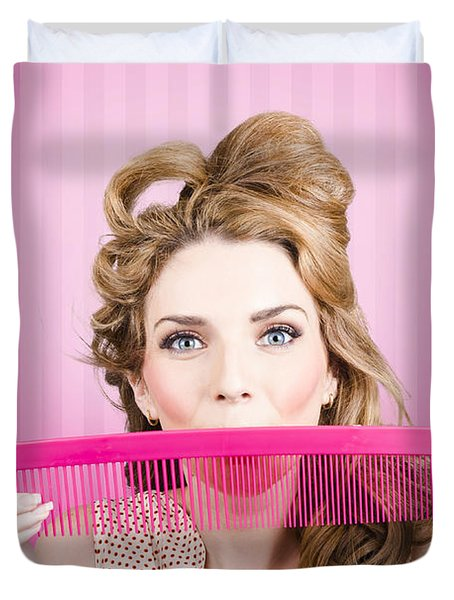 Funny Hairdresser With Cute Hairdo. Pin Up Haircut Duvet Cover