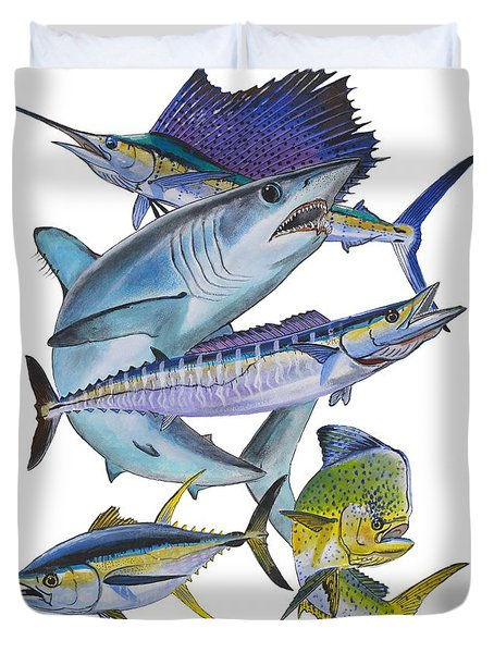 Gamefish Collage Duvet Cover by Carey Chen