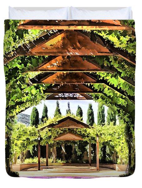 Duvet Cover featuring the painting Garden by Muhie Kanawati