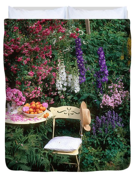 Garden With Chair Duvet Cover by Hans Reinhard