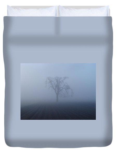 Garry Oak In Fog  Duvet Cover