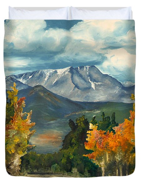 Duvet Cover featuring the painting Gayle's Highway by Mary Ellen Anderson