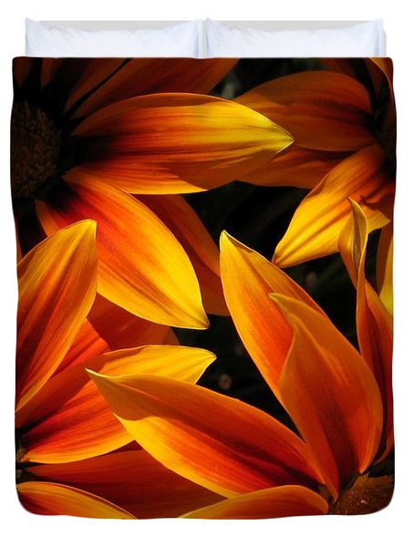 Duvet Cover featuring the photograph Gazania Named Kiss Orange Flame by J McCombie