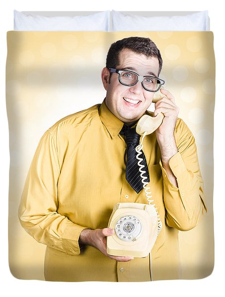 Geeky Businessman On Important Phone Call Duvet Cover
