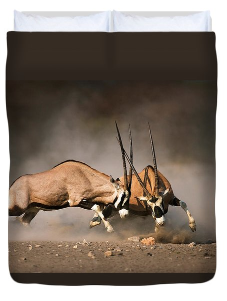 Gemsbok Fight Duvet Cover