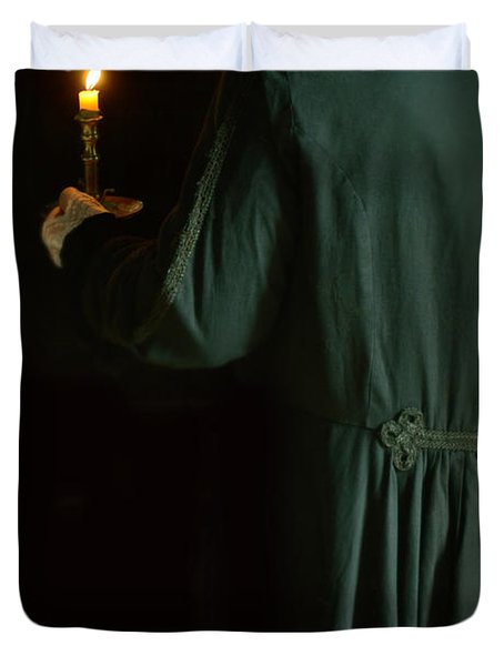 Gentleman In 18th Century Clothing With A Candle Duvet Cover by Jill Battaglia