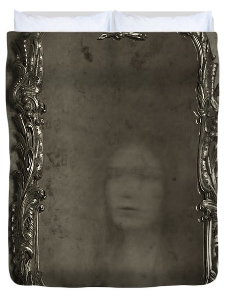 Ghost Of A Woman Reflected In A Mirror Duvet Cover by Lee Avison
