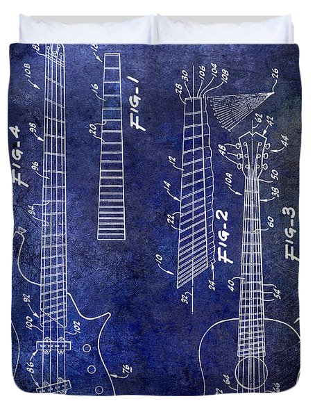 Gibson Guitar Patent Drawing Blue Duvet Cover