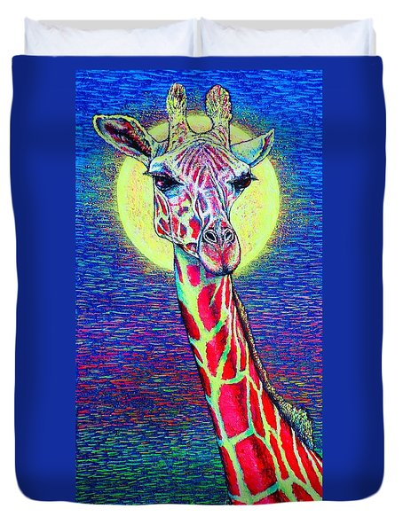 Duvet Cover featuring the painting Giraffe by Viktor Lazarev