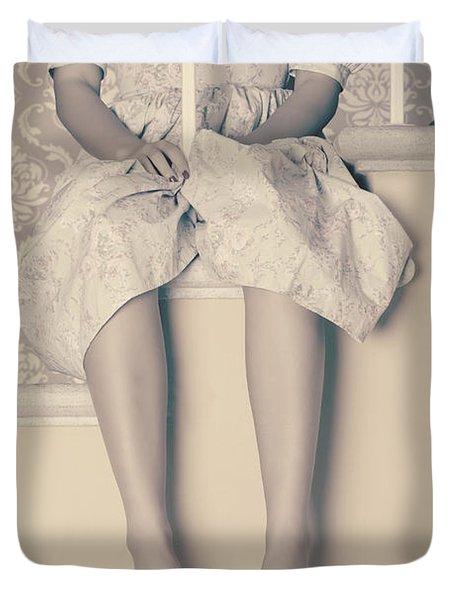 Girl On Steps Duvet Cover by Joana Kruse