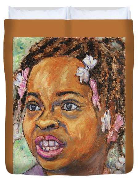Girl With Dread Locks Duvet Cover