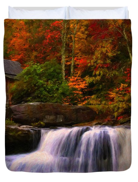 Glade Creek Grist Mill Duvet Cover by Chris Flees