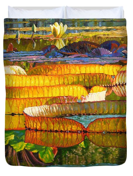 Glorious Morning Lilies Duvet Cover by John Lautermilch