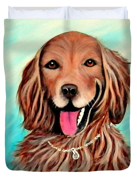 Duvet Cover featuring the painting Golden Retriever by Fram Cama