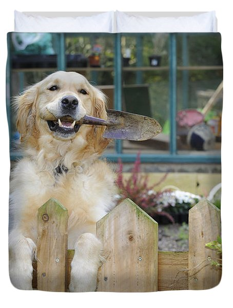 Golden Retriever Gardening Duvet Cover