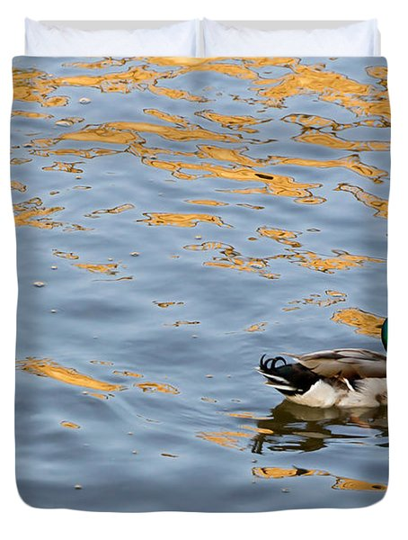 Duvet Cover featuring the photograph Golden Ripples by Keith Armstrong