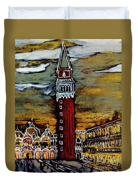 Duvet Cover featuring the painting Golden Venice by Jasna Gopic