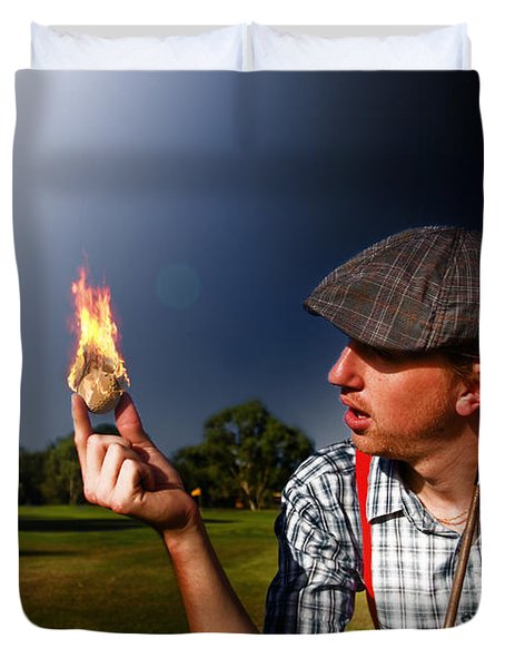 Golf Ball Flames Duvet Cover