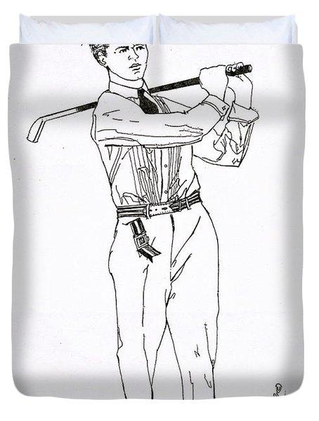 Golfer 1915 Duvet Cover
