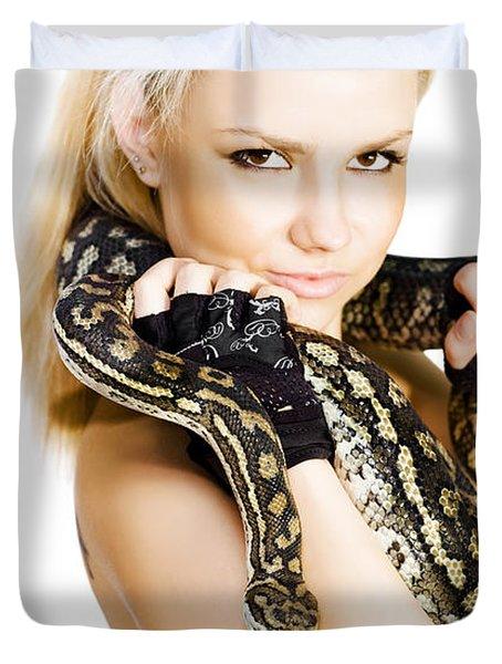 Gorgeous Blonde Snake Handler Duvet Cover