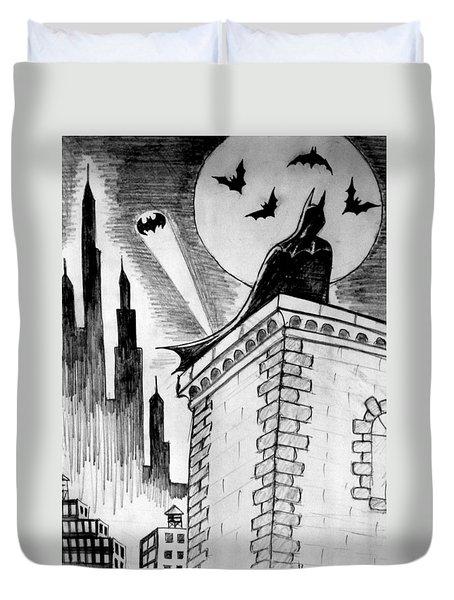 Duvet Cover featuring the painting Gotham  by Salman Ravish