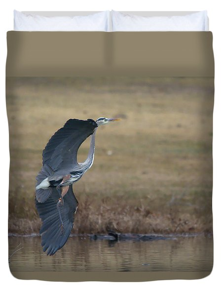 Great Blue Flight Manuever Duvet Cover