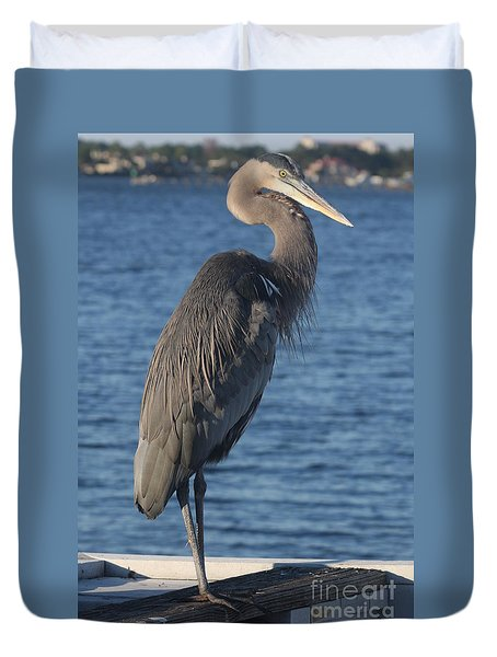 Great Blue Heron  Duvet Cover by Christiane Schulze Art And Photography