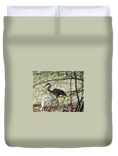 Duvet Cover featuring the photograph Great Blue Heron In Bushes by Karen Silvestri