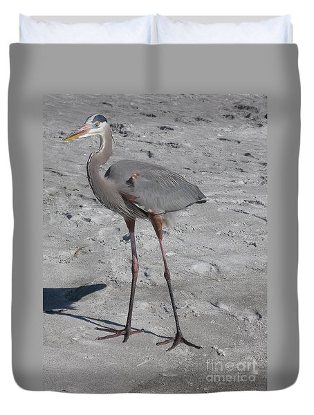 Great Blue Heron On The Beach Duvet Cover by Christiane Schulze Art And Photography