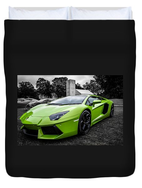 Duvet Cover featuring the photograph Green Aventador by Matt Malloy