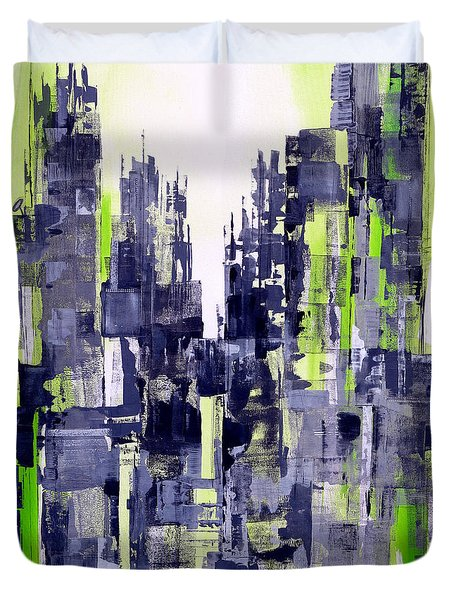 Duvet Cover featuring the painting Green City by Katie Black