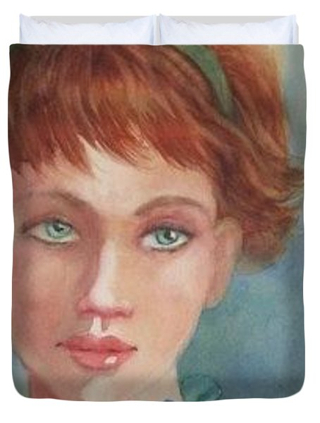 Green Eyes Duvet Cover by Marilyn Jacobson