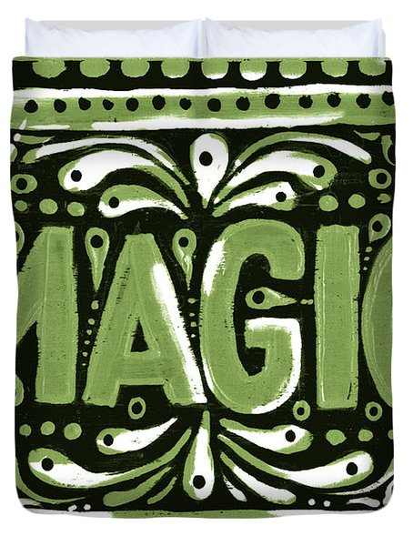 Duvet Cover featuring the painting Green Magic  by Nada Meeks